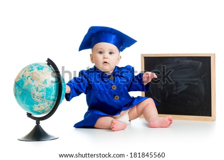 Baby in academician clothes  with globe and chalkboard - stock photo