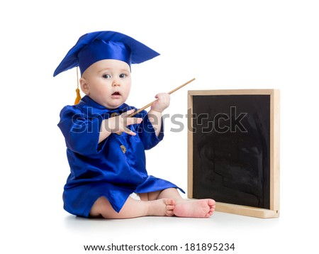 Baby in academician clothes  with pointer and chalkboard - stock photo