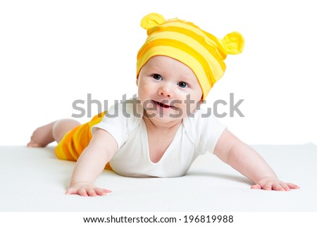 baby in funny hat isolated on white background - stock photo