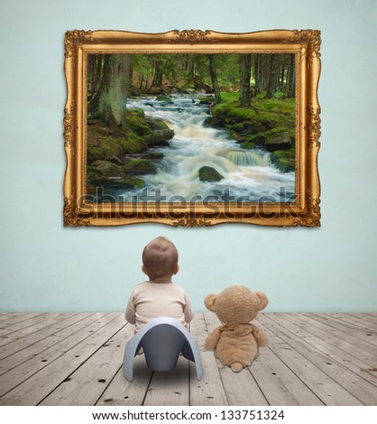 Baby in gallery - stock photo