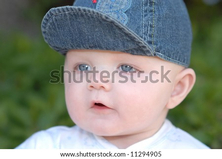 baby in sun hat - stock photo