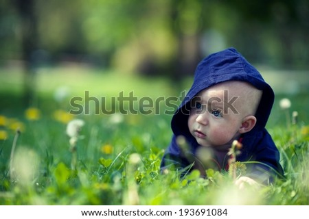 Baby in the grass - stock photo