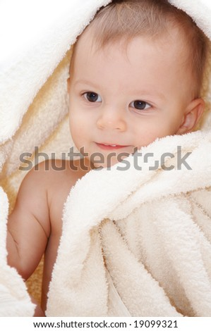 baby in towel - stock photo