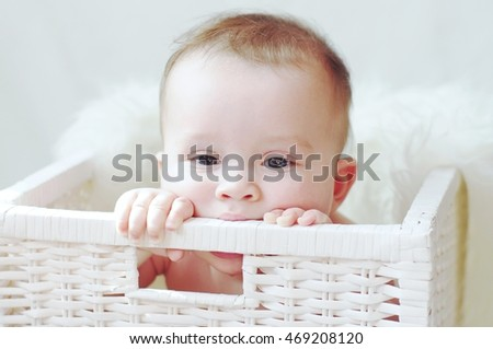 baby in white basket