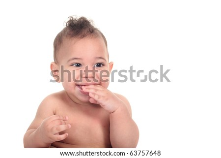 Baby infant boy on a white background - stock photo