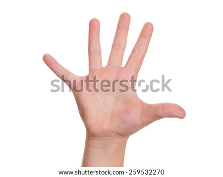Baby is counting by fingers. The number five is shown - stock photo