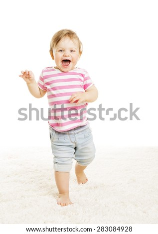 Baby Kid Go One Year Old, Little Child Girl Laughing Open Mouth, Happy Toddler Going over White Background - stock photo