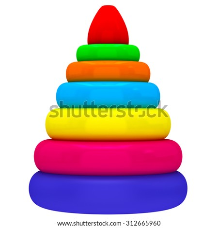 Baby, kids colorful pyramid toy - stock photo