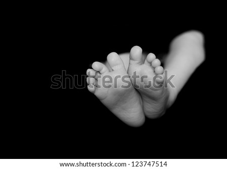 Baby legs. Legs newborn on a black background