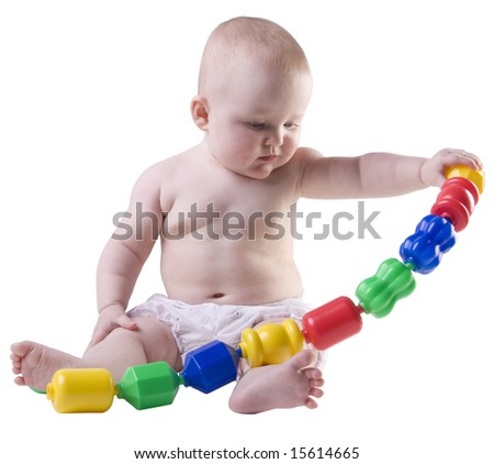 Baby lifting plastic beads.