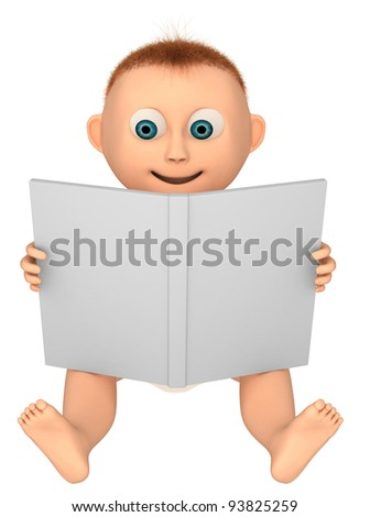 baby looking at a book, 3d render isolated on white - stock photo
