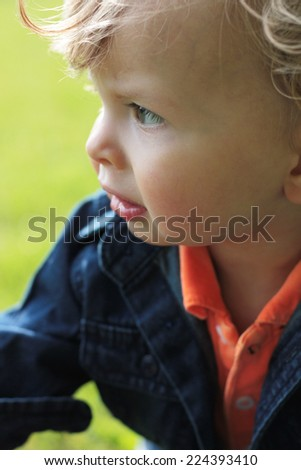 Baby looking out at the park - stock photo