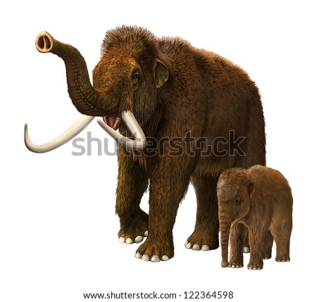 Baby mammoth with mother - stock photo