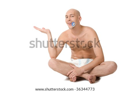 Baby man in diaper keeping his palm open and looking into camera - stock photo