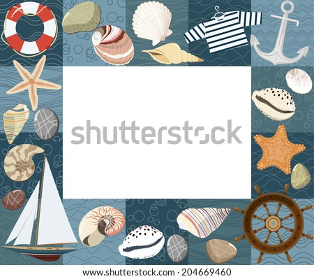 Baby marine photo frame or card. Raster version - stock photo