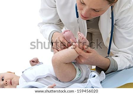 baby medical check up-physical examination - stock photo