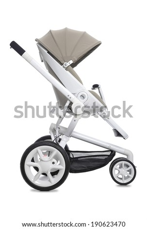 Baby modern pram isolated on white - stock photo