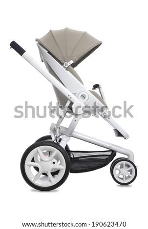 Baby modern pram isolated on white - stock photo