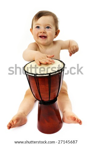 baby musicians play his instruments