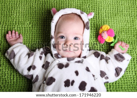 baby on a background of green grass in a cow costume  sc 1 st  Shutterstock & Baby On Background Green Grass Cow Stock Photo u0026 Image (Royalty-Free ...