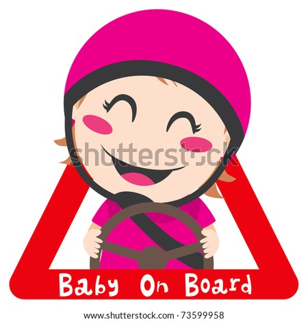Baby on board red triangle warning sign for safe driving with pink helmet - stock photo