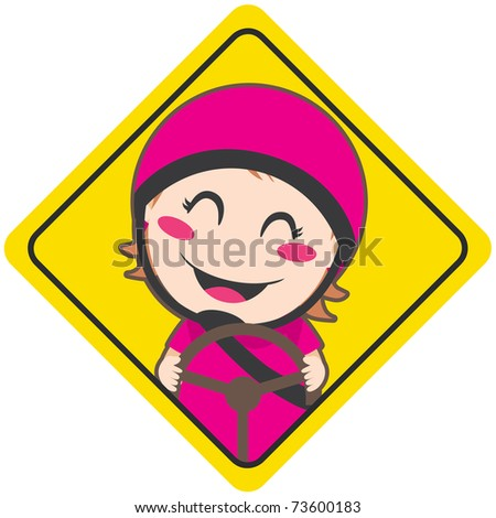 Baby on board yellow diamond warning sign for safe driving with pink helmet - stock photo