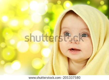 baby on summer background - stock photo