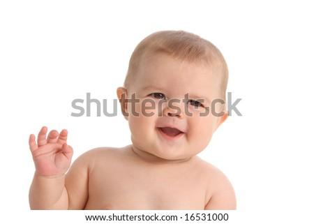 Baby on white background - stock photo
