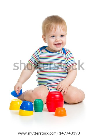 baby or child playing with toys isolated over white - stock photo