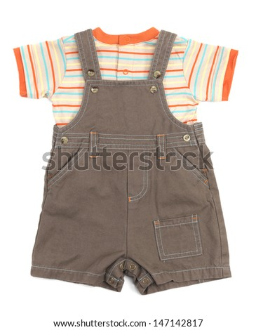 Baby overalls and a shirt set of clothes isolated on white background