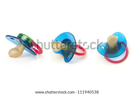 Baby pacifier isolated on white - stock photo