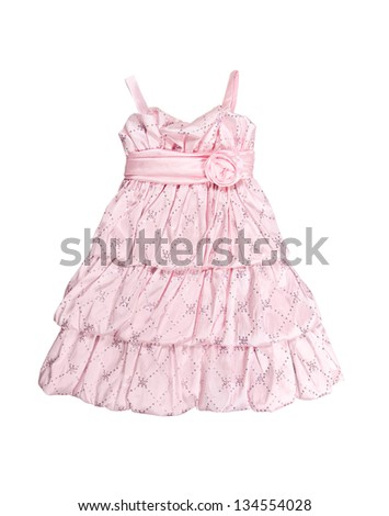 baby pink dress isolated on white background - stock photo