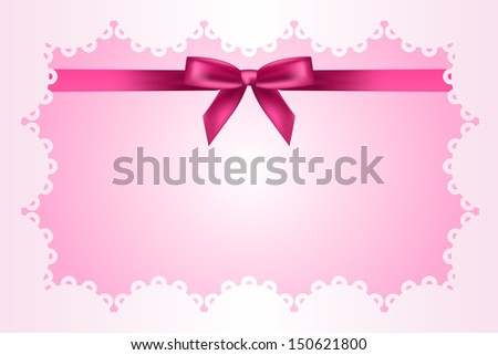 Baby pink frame with lace and ribbon - stock photo