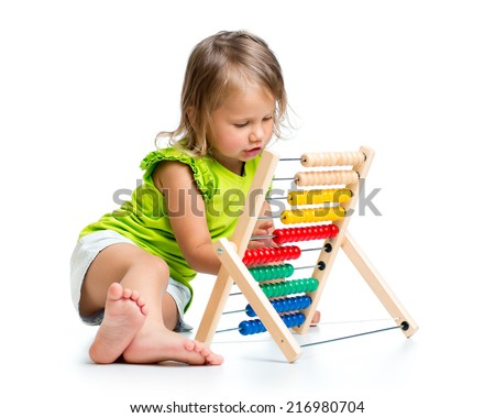 baby playing with abacus - stock photo