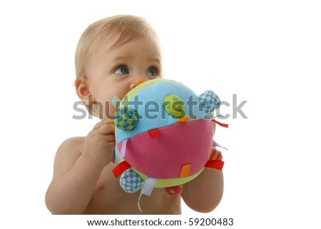 baby playing with ball on white background - stock photo
