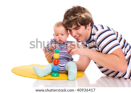 Baby playing with father isolated on white