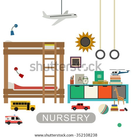 Baby playroom interior with furniture and toys. Raster version. - stock photo