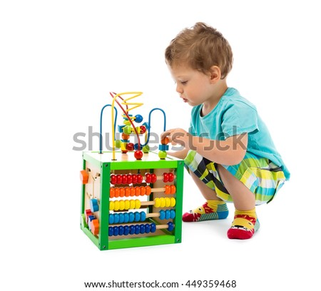 baby playswith toys - stock photo