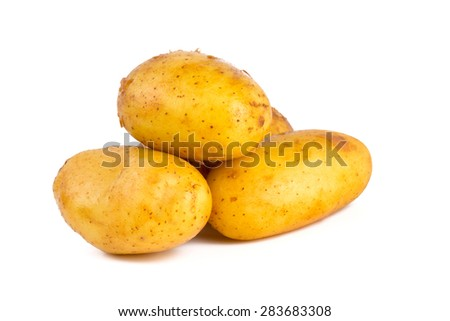 baby potatoes isolated on white - stock photo