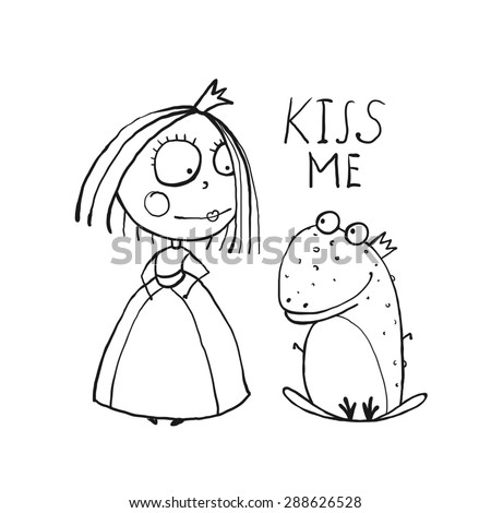 Baby Princess and Frog Asking for Kiss Coloring Page. Kids love story cute and fun outline illustration for coloring book. Raster variant. - stock photo