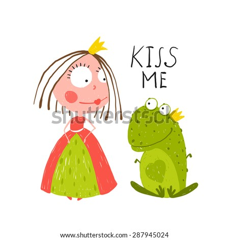 Baby Princess and Frog Asking for Kiss. Kids love story cute and fun colored illustration. Raster variant. - stock photo