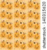 baby pumpkins jack o lanterns in a cute pattern - stock photo