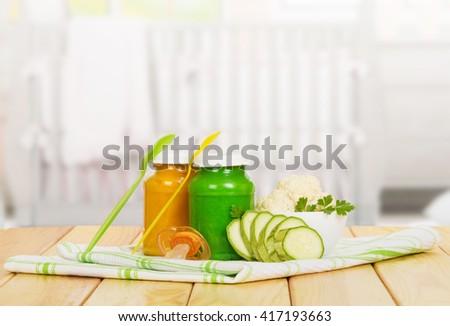 Free Pics Any Bimbo baby puree vegetables cauliflower zucchini towels stock photo