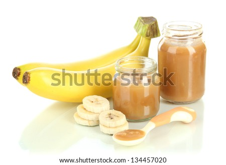 Baby puree with bananas isolated on white - stock photo