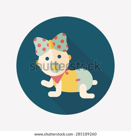 baby rattle flat icon with long shadow - stock photo