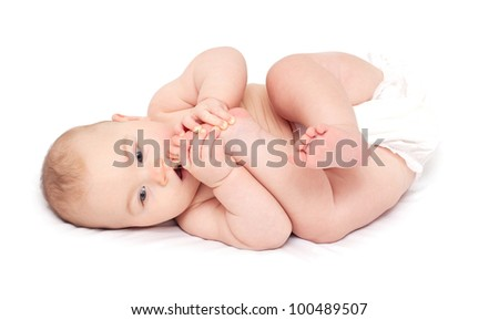 baby reaching his legs