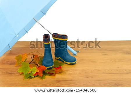 Baby rubber boots umbrella maple leaves floor isolated white background blue - stock photo