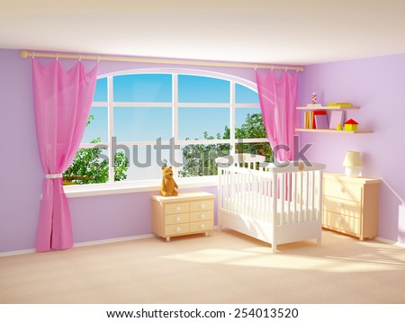 Baby's bedroom with big window, commode and bear. Pastel colors. - stock photo