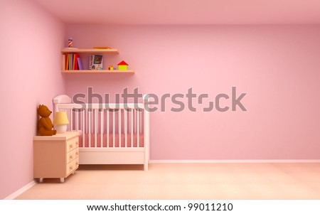 Baby's bedroom with commode and bear. Pastel colors, empty room - stock photo