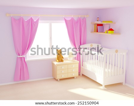 Baby's bedroom with commode and bear. Pastel colors, empty room. 3d illustration. - stock photo
